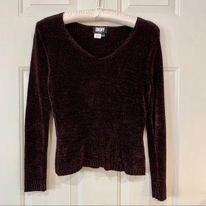 DKNY Petite chenille V Neck Sweater Brown size PM